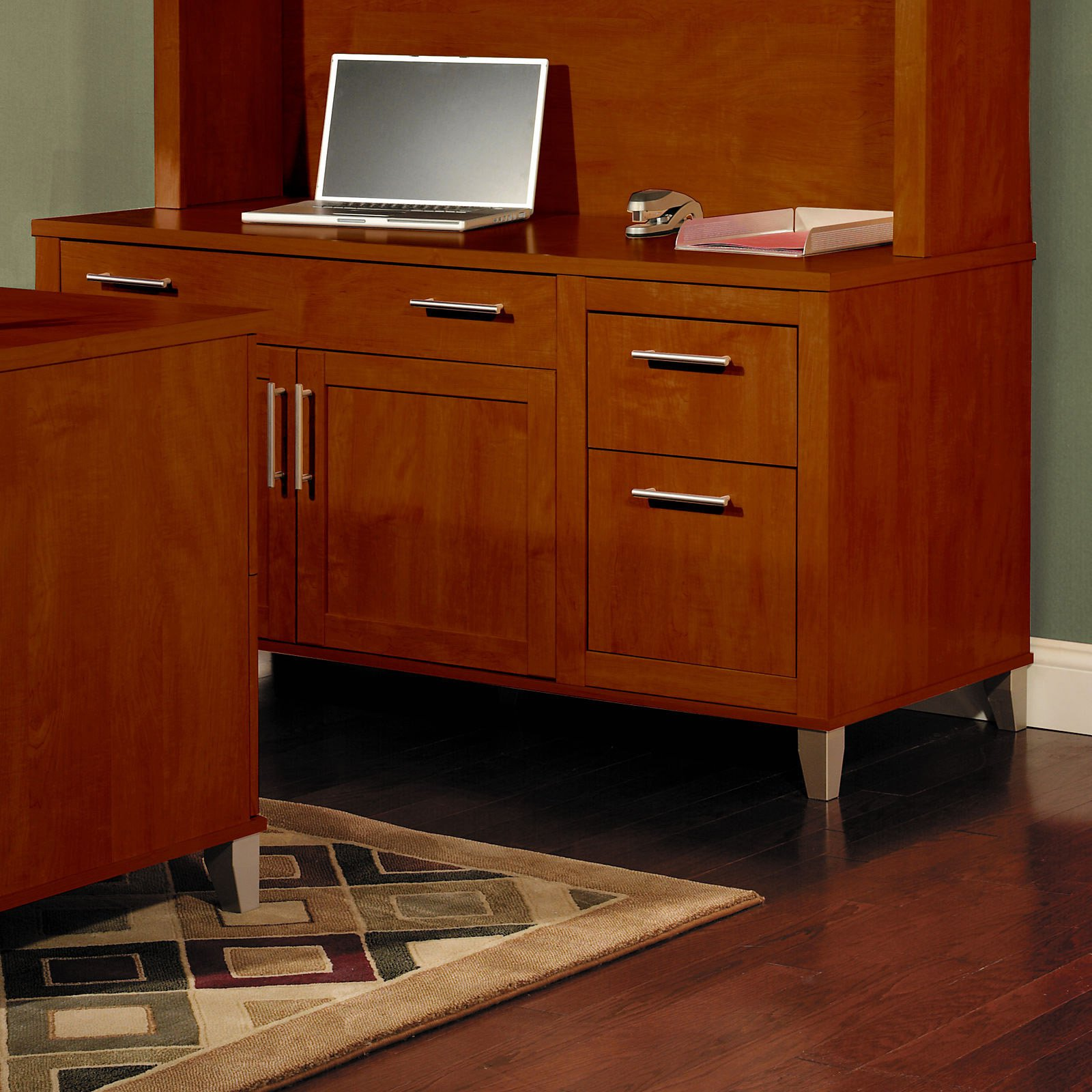 Bush Somerset Credenza Computer Desk Hansen Cherry by Bush Industries Inc