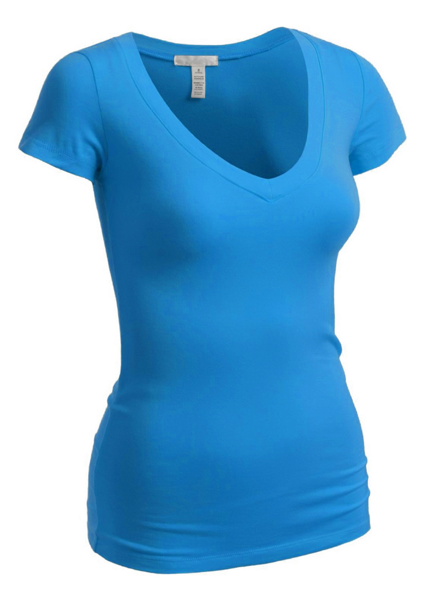 Emmalise Women's Plain Short Sleeve T-Shirt V-Neck Top Junior & Plus Sizes