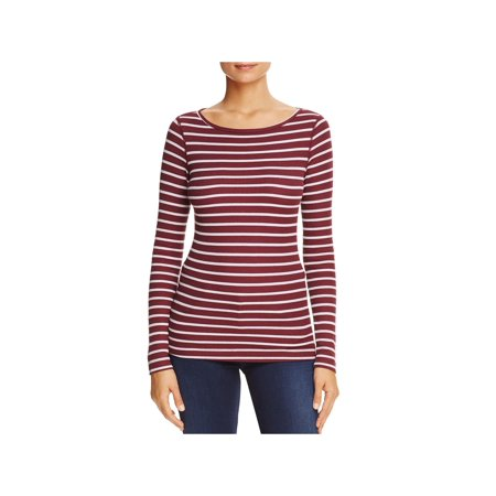 Three Dots Womens Striped Round Neck Thermal Top