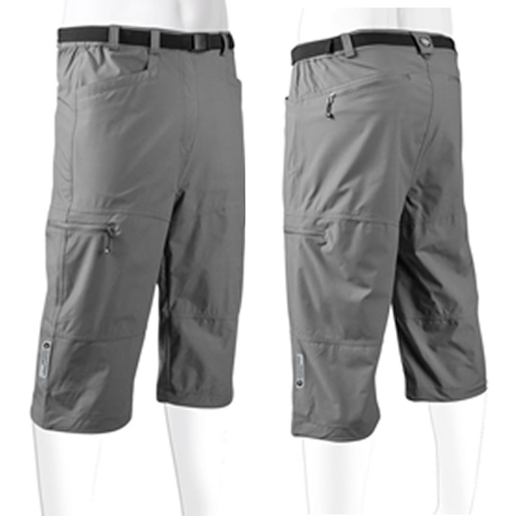 Aero Tech Men's Urban Pedal Pushers - Knickers - Stretch Woven w Cargo Pockets Black X-Small