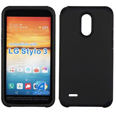 buy popular c9193 c0da9 LG Stylo 3 Phone Case Slim Tuff Hybrid Astronoot Rubber Shockproof Dual  Layer Hard TPU Rugged Case Thin Cover BLACK