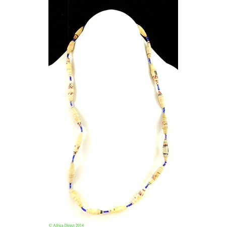 Uganda Paper Beads Necklace Tan Red Blue Africa