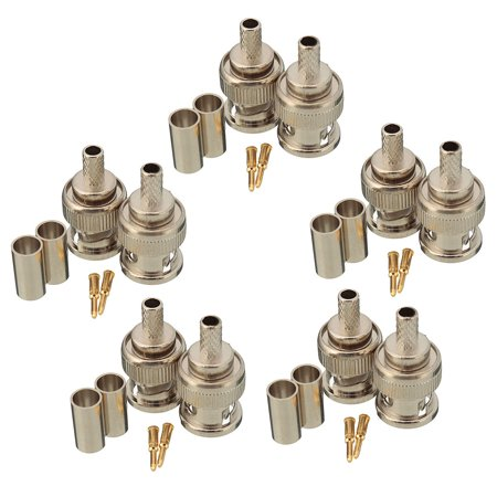 10 Sets 3-Piece BNC Plug Crimp Connectors for RG58 RG-58 Coax Male Antenna Cable - image 2 of 6
