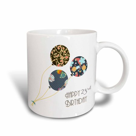 3dRose Happy 23rd Birthday - Modern stylish floral Balloons. Elegant black brown blue 23 year old Bday, Ceramic Mug,