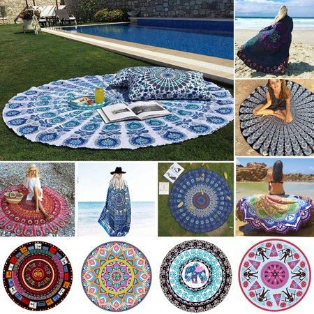 All Kinds of Beauty Home Garden Beach Mat Travel Round Bohemian Round Hippie Indian Thin Tapestry Roundie Mandala Mat, as a Shawl, Scarf, Decorate a Table