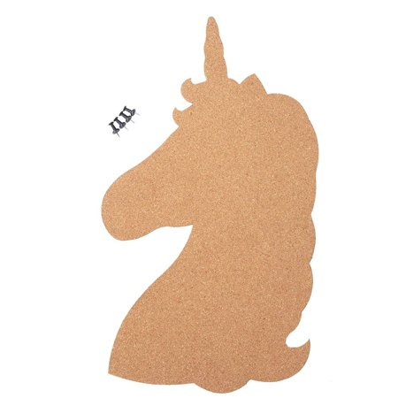 Corkboard Bulletin Board - Unicorn Shaped Cork Board, Pin Board for Photos, Memos, to-Do List, Wall, Home Decor, 4 Push Pins Included, 16 x 9 (Features Cork Base)