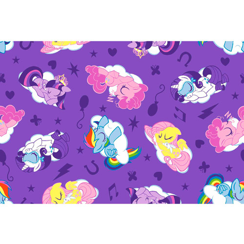 "Hasbro, My Little Pony Sleeping Ponies, Flannel, Lavender, 42/43"" Wide Fabric by the Yard"