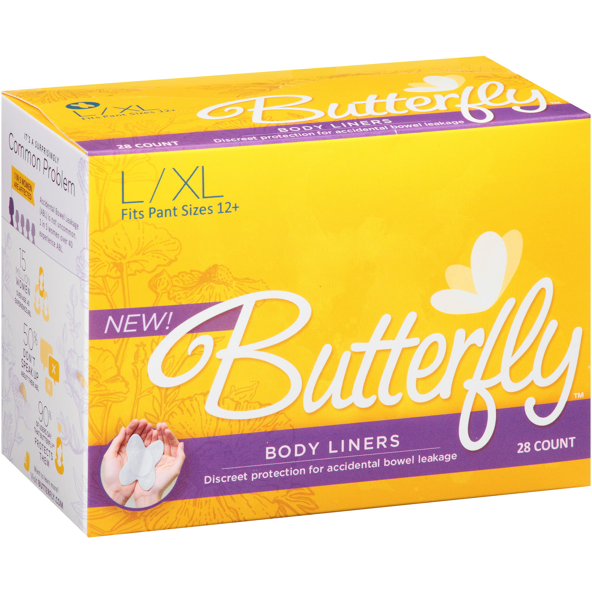 Butterfly Incontinence Care Body Liners for Women, Large/Extra Large
