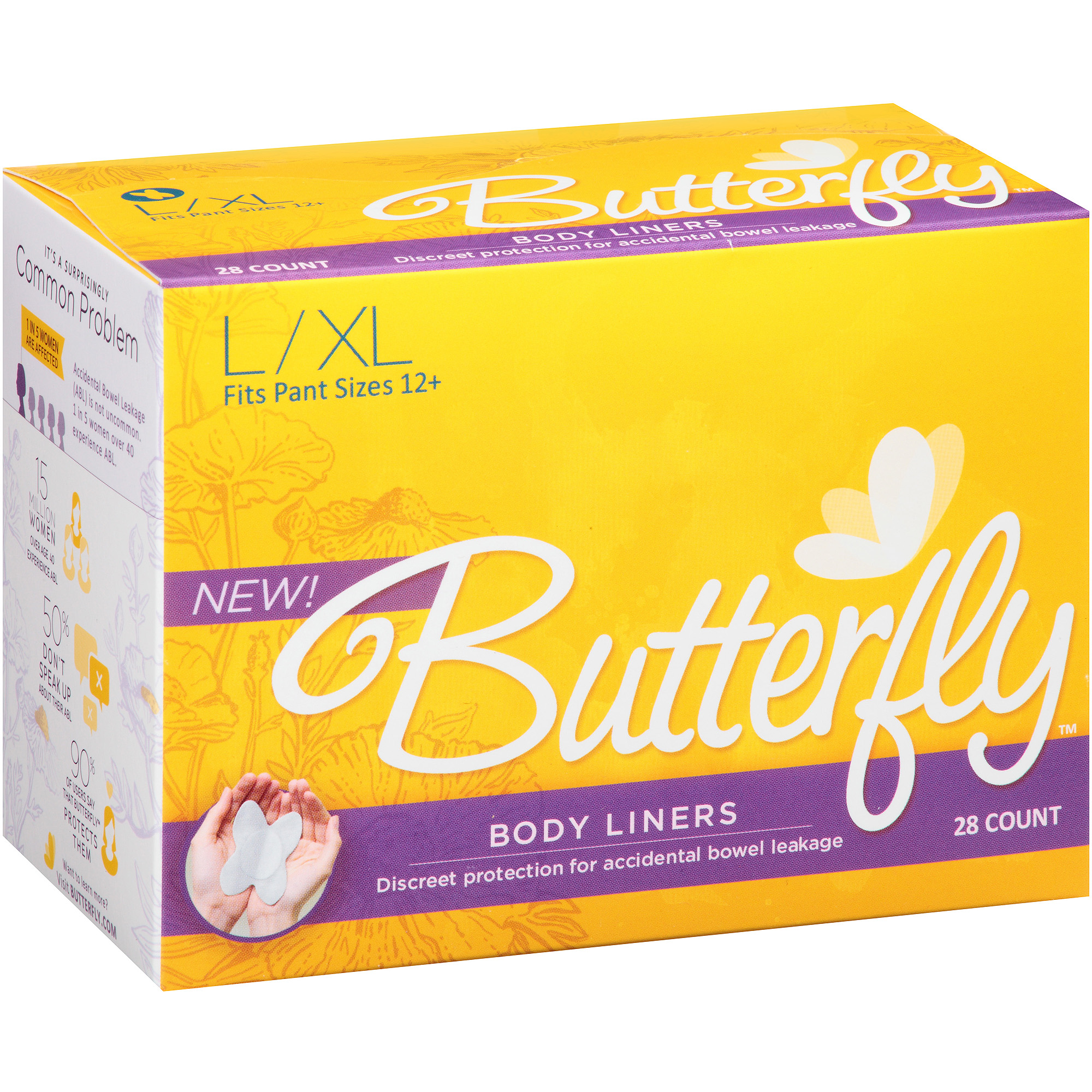 Butterfly Incontinence Care Body Liners for Women, Large/Extra Large (28 liners)