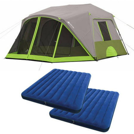 Ozark Trail 9-Person Instant Cabin Tent with 2 Bonus Queen Airbeds Value (Columbia Cougar Flats Ii Family Cabin Dome Tent)