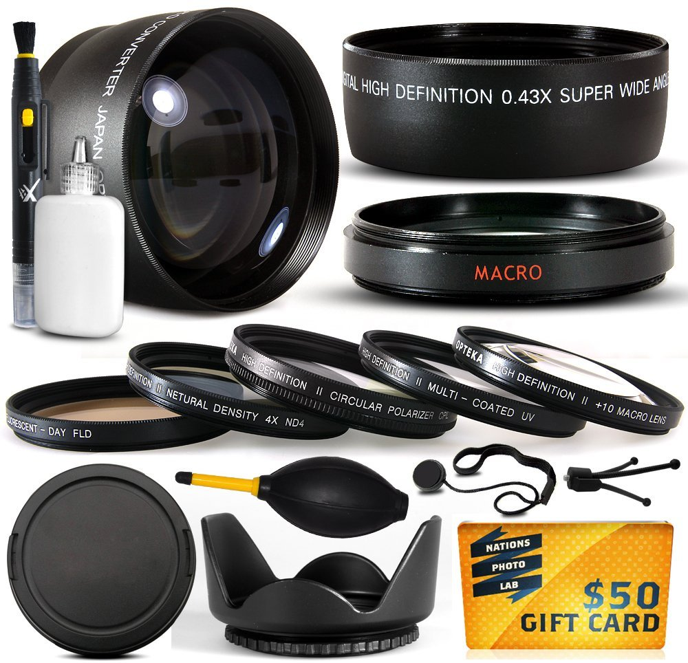 10 Piece Ultimate Lens Package For Sony Cybershot DSC-RX10 HVR-V1U HVR-V1N HDR-FX7 HVR-V1N Camera Includes .43x Macro Fisheye + 2.2x Extreme Telephoto Lens + Pro 5 Piece Filter Kit + $50 Gift Card!