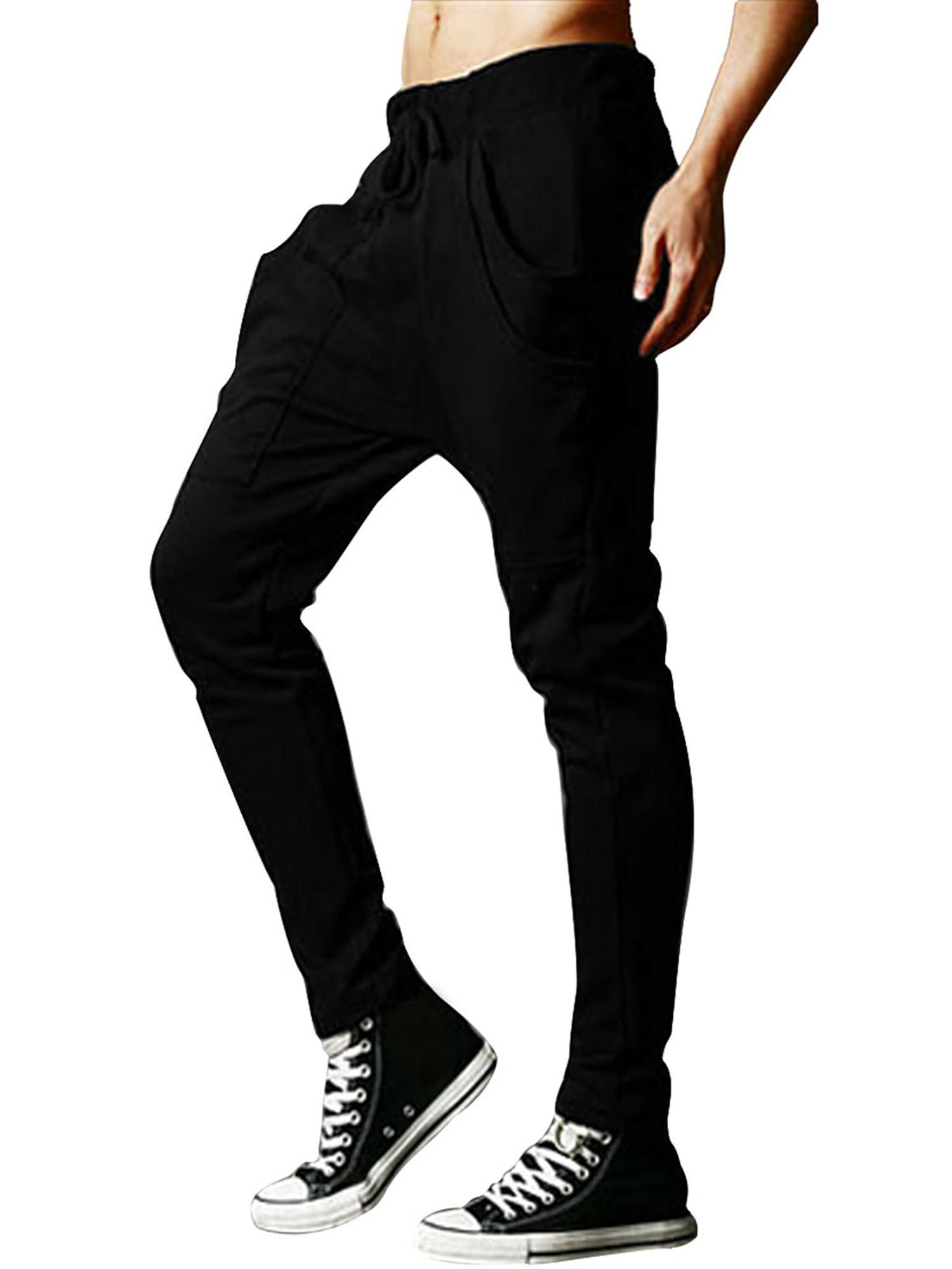 Men's NEWS Men Drawstring Elastic Waist Tapered Stretchy Harem Pants