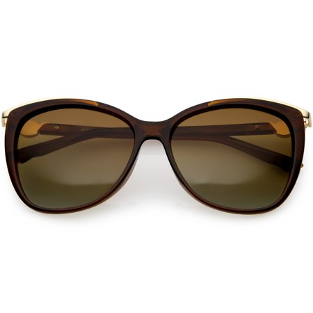 Women's Classic Metal Trim Square Cat Eye Sunglasses Polarized Lens 55mm (Brown / Amber) (Polarized Cat Eye Sonnenbrille)