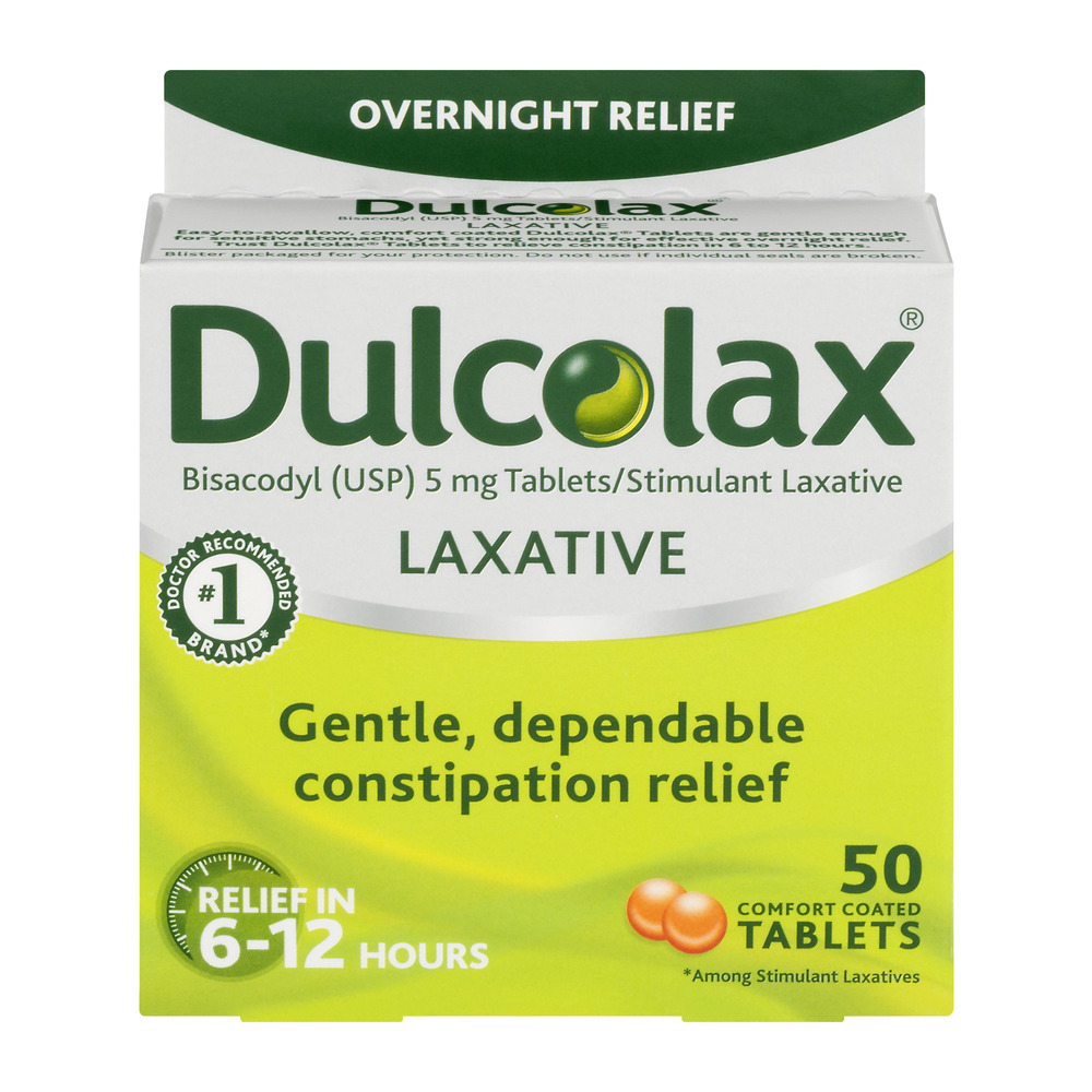 Dulcolax Laxative Comfort Coated Tablets 50ct, bisacodyl USP 5mg