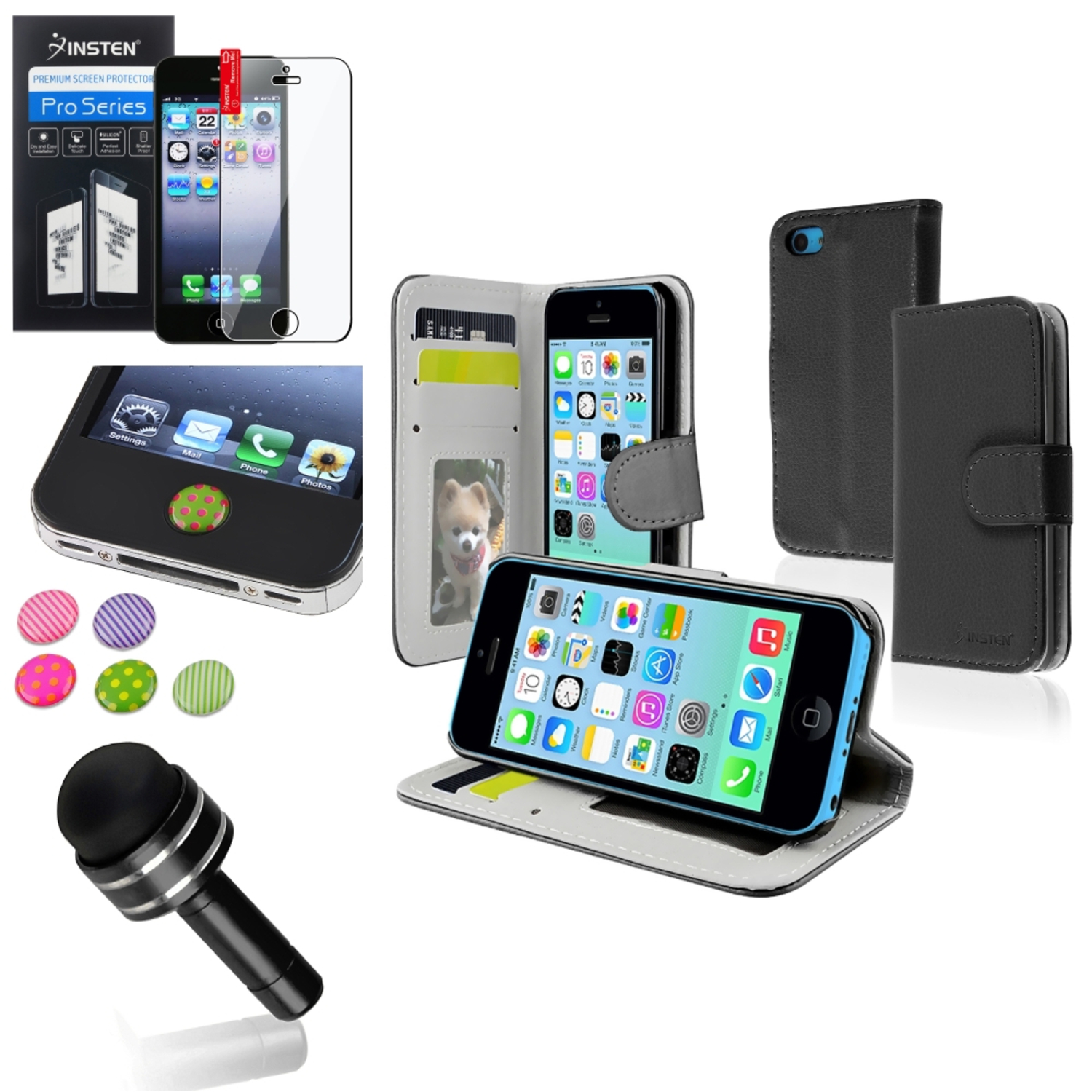 Insten Black Stand Wallet Card Leather Case Dust Stylus Clear Protector Sticker For iPhone 5C