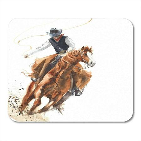 SIDONKU Rodeo Cowboy Riding Horse Ride Calf Roping Watercolor Painting Western Cartoon Mousepad Mouse Pad Mouse Mat 9x10 inch