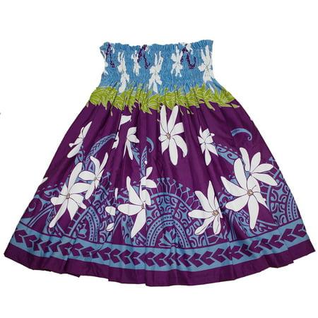 Hawaiian Pa'u Hula Skirt with Blue and Purple flower Print