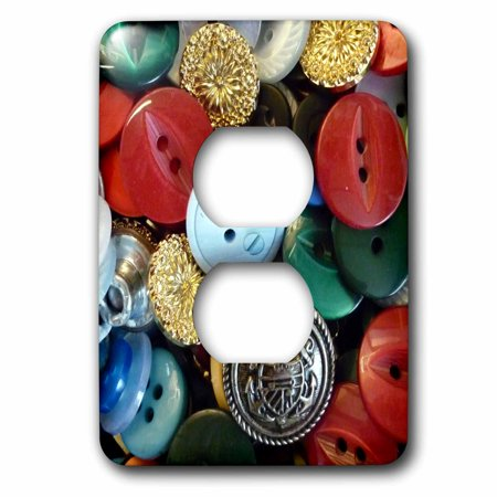 3dRose Image of Colorful Vintage Button Collection - 2 Plug Outlet Cover