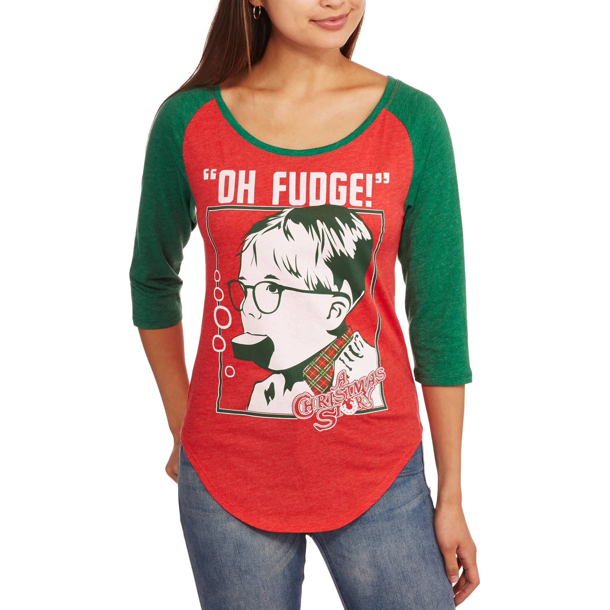 "Juniors' ""Oh Fudge!"" A Christmas Story Holiday Baseball Raglan Tee"