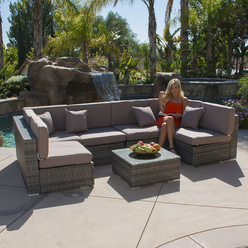 Belleze� 7PC Outdoor Patio Garden Sectional Furniture Wicker Rattan Sofa Set by Belleze