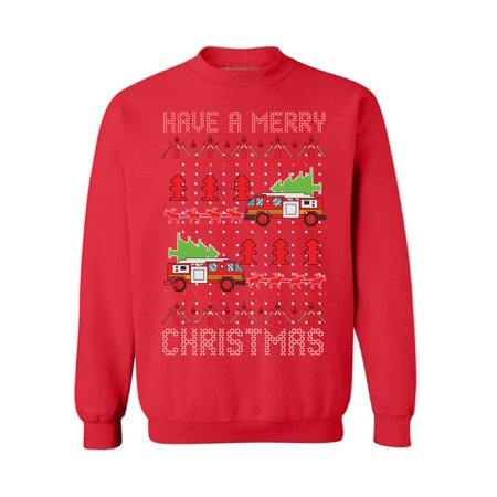 9b39efbd4d Awkward Styles Christmas Fire Truck Sweatshirt Firefighter Ugly Christmas  Sweater Superhero Xmas Sweatshirt Fire Truck Christmas Sweater Funny Xmas  Gifts ...