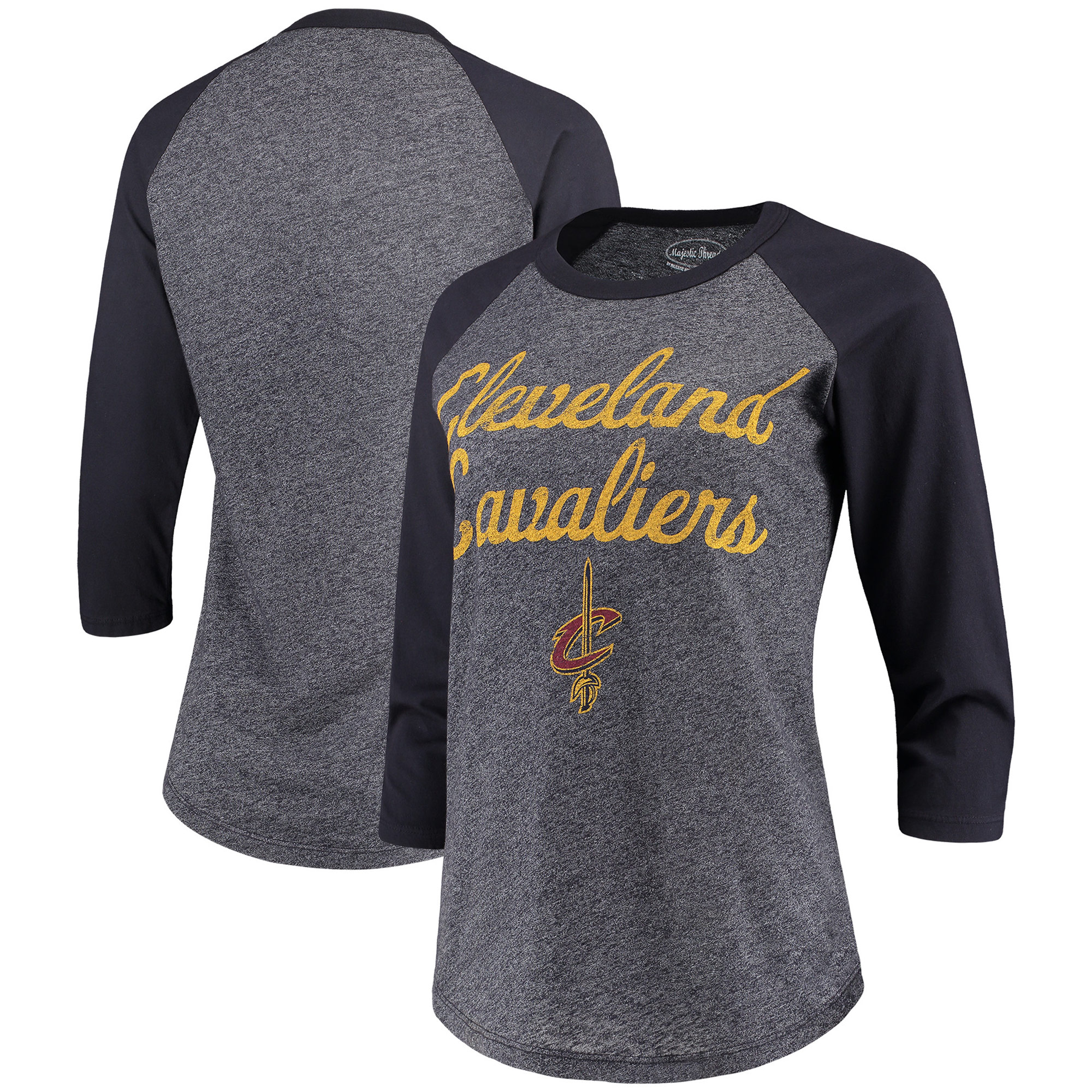 Cleveland Cavaliers Majestic Threads Women's Double Dribble Raglan Tri-Blend 3/4-Sleeve T-Shirt - Heathered Navy/Navy