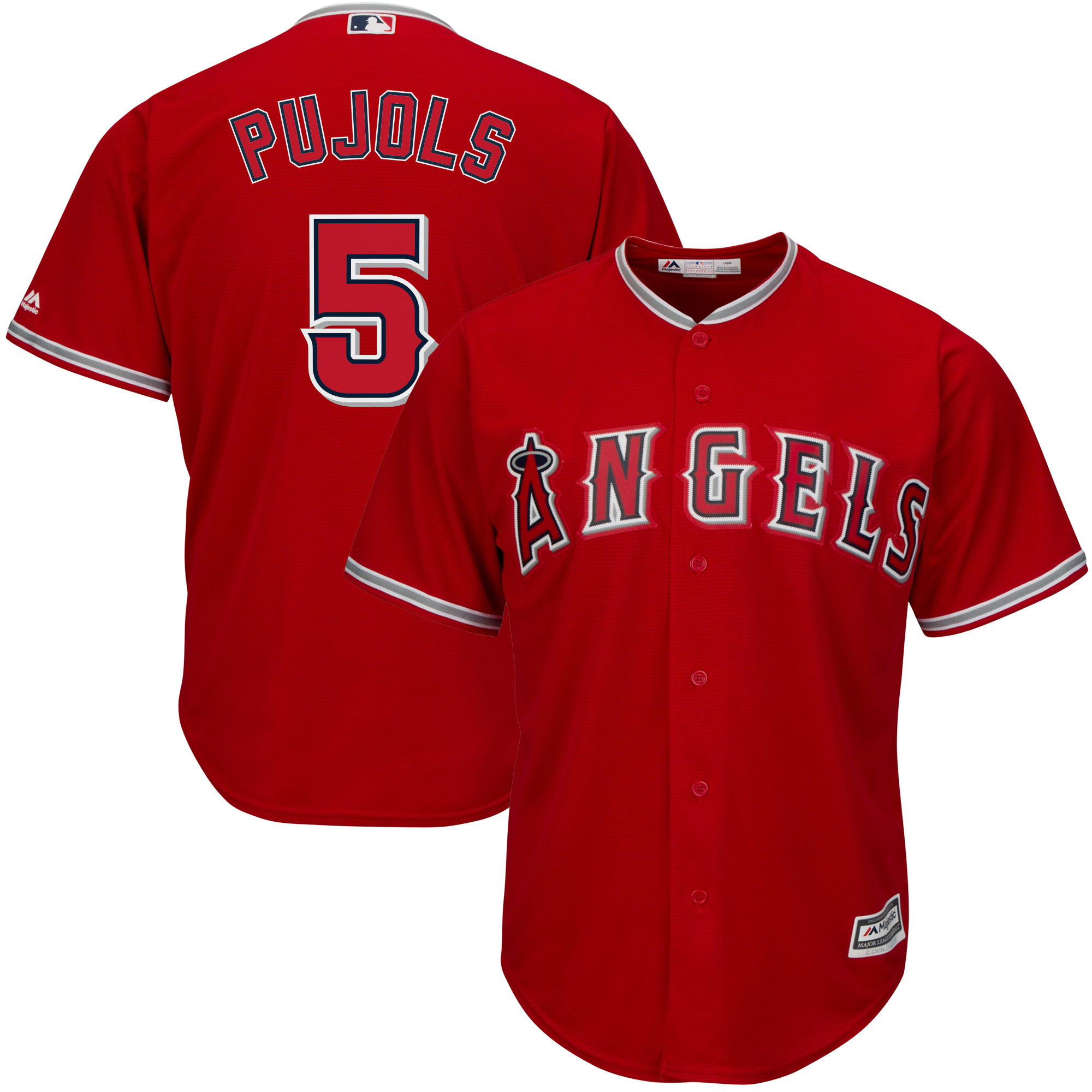 Albert Pujols Los Angeles Angels Majestic Youth Alternate Official Cool Base Replica Player Jersey - Scarlet
