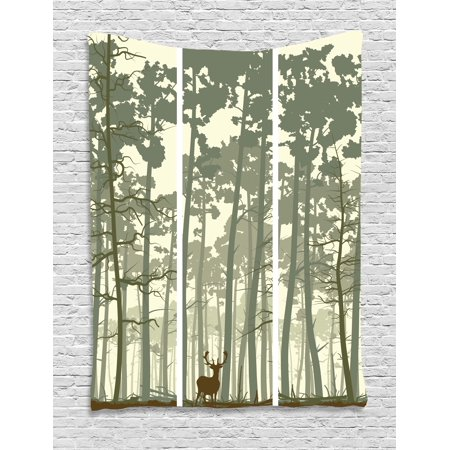 Forest Tapestry, Vertical Stripes with Tall Trees and Lonely Deer Nature Illustration, Wall Hanging for Bedroom Living Room Dorm Decor, 40W X 60L Inches, Sage Green Cream Brown, by Ambesonne