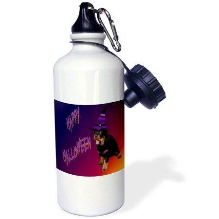 Rottweiler Halloween (3dRose Photography Rottweiler Halloween, Sports Water Bottle,)