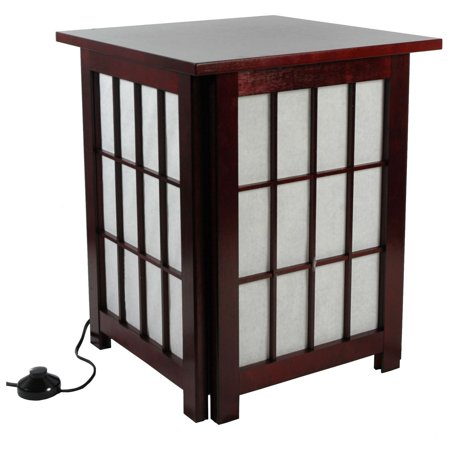 "Oriental Furniture 19"" Hokkaido End Table Shoji Lamp, decorative item, oriental design, any occasion, any room"
