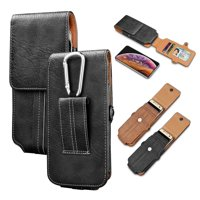 Njjex 2019 Samsung Galaxy S10 / S10 Plus / S10E Holster Case Vertical Leather Carrying Pouch with Belt Clip Loop -Black