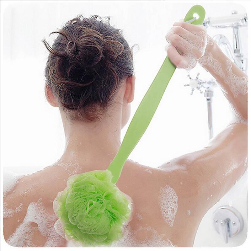 Plastic Long Handle Hanging Soft Mesh Back Body Bath Ball Shower Scrubber Brush Sponge for Women/Men
