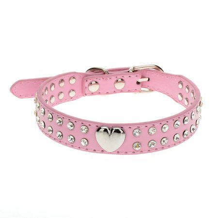 Rhinestone Leather Dog & Cat Collar - Sparkly Crystal Diamonds Studded for Small Medium Large Dogs(pink,0.79*11.8inch)