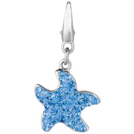 Women's Crystal Sterling Silver Starfish Clip-On Charm