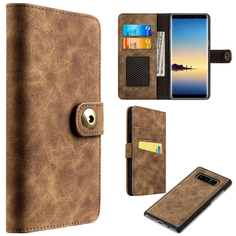 MUNDAZE Brown Detachable Magnetic Storage Wallet Flip Case For Samsung Galaxy Note 8 Phone