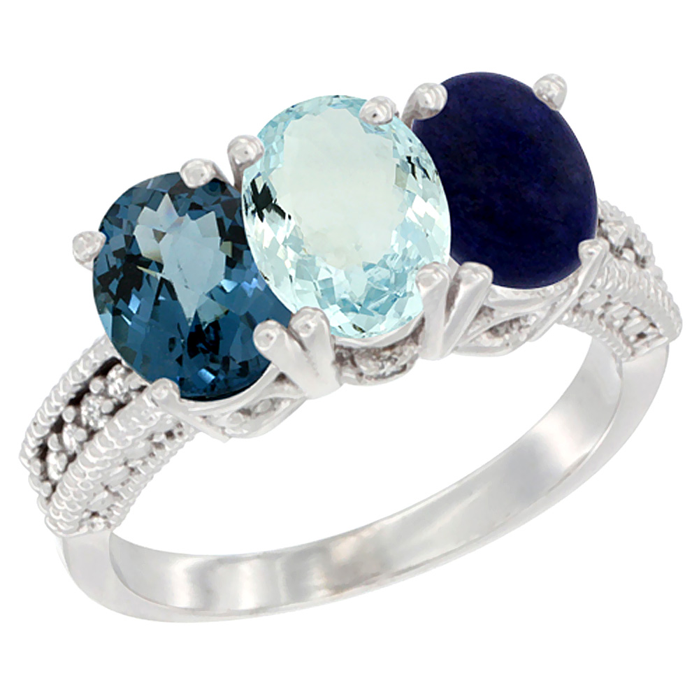14K White Gold Natural London Blue Topaz, Aquamarine & Lapis Ring 3-Stone 7x5 mm Oval Diamond Accent, sizes 5 10 by WorldJewels