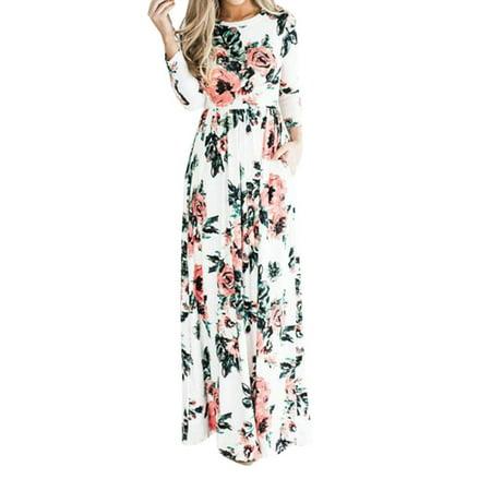 ZXZY Women Floral Print Long Dress Long Sleeve Boho Beach Dress Boho Long Dress Long Sleeve Beach Dress