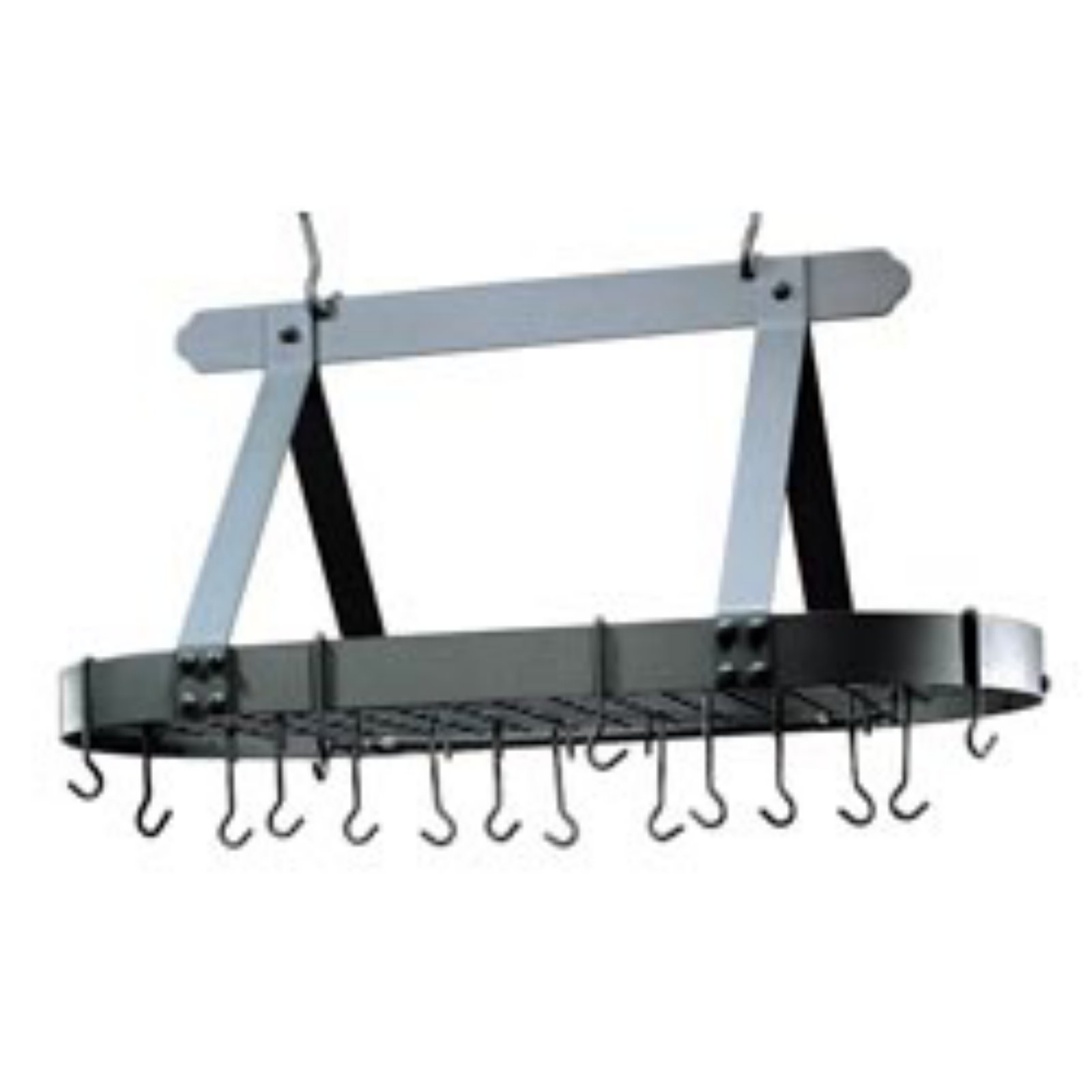 Oval Graphite Pot Rack with Grid & 16 Hooks