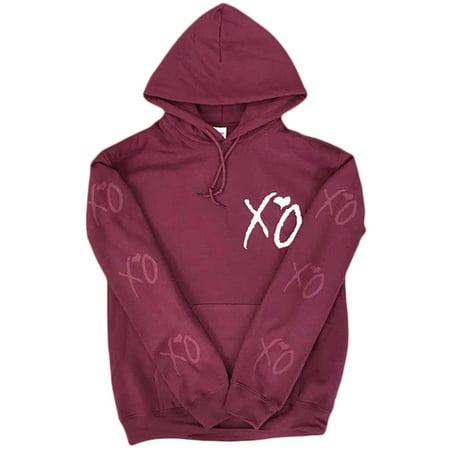 The Weeknd Starboy XO Hoodie (White/ Maroon Logo)