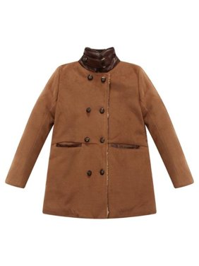 Little Boys Brown Fake Leather Details Padding Jacket 3/4