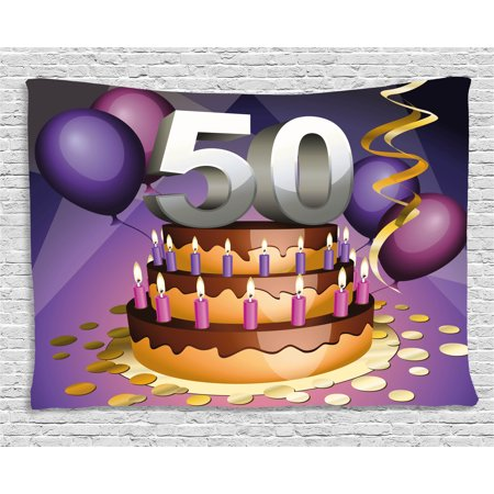 50th Birthday Decorations Tapestry Creamy Cake With Many Candles And Numbers Balloons Ribbons Wall