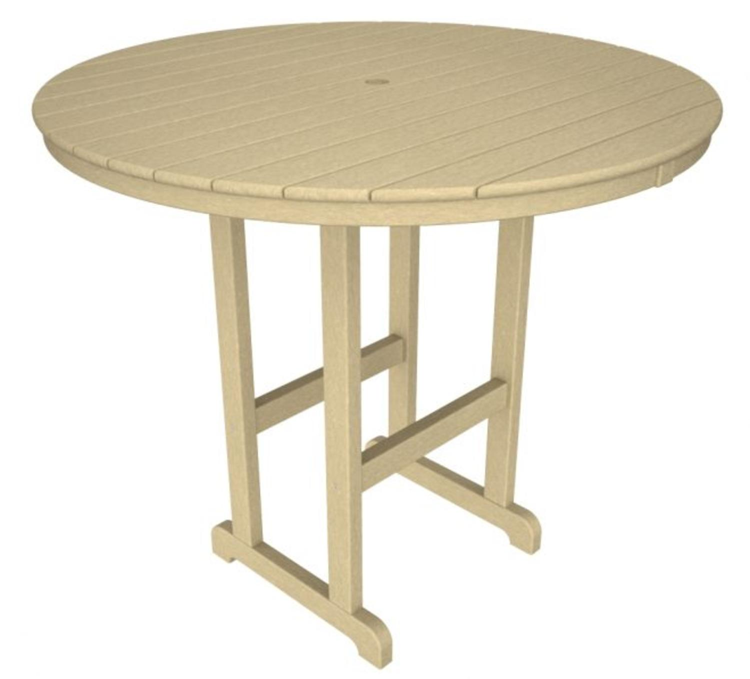 "48"" Recycled Earth-Friendly Outdoor Patio Round Pub Table Khaki by Eco-Friendly Furnishings"
