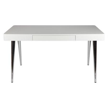 Whiteline 1 Drawer Metro Desk With Chrome Legs High Gloss White