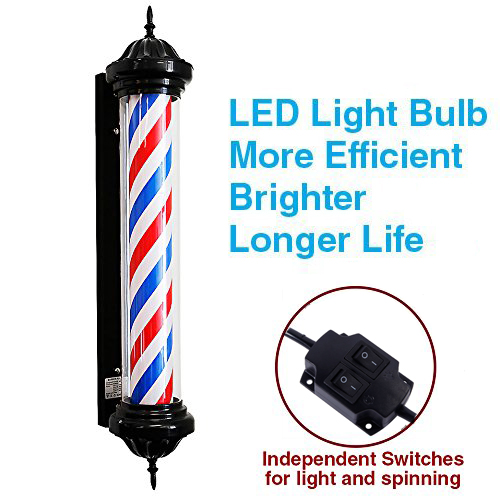 Zimtown Barber Pole LED Light,Hair Salon Barber Shop,Classic Style Barber Pole,Spinning Rotating White Red Blue LED Stripes