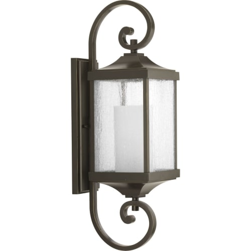 """Progress Lighting P560019 Devereux Single Light 7"""" Wide Outdoor Wall Sconce with Clear Seeded Glass Panels and Etched White Glass Pillar"""