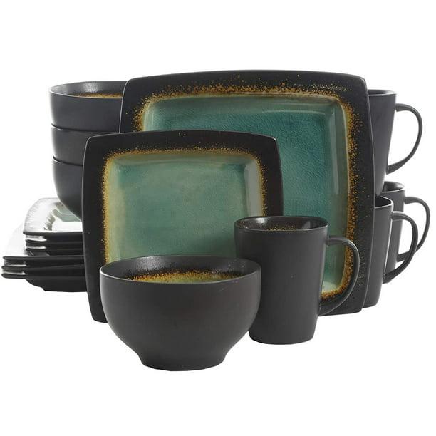 Gibson Elite Ocean Paradise 16pc Square Glazed Dinnerware Kitchen Dish Set Jade Walmart Com Walmart Com