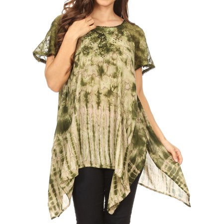 Sakkas Elba Womens Short Sleeves Handkerchief Hem Blouse Top Tie-dye with Sequin - Green - One Size Regular - Green Blouse Shirt