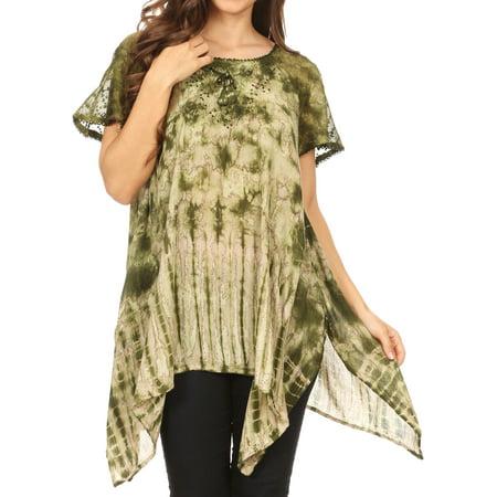 - Sakkas Elba Womens Short Sleeves Handkerchief Hem Blouse Top Tie-dye with Sequin - Green - One Size Regular