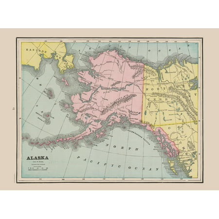 1892 Map Of The World.Old State Map Alaska Cram 1892 31 05 X 23 Walmart Com