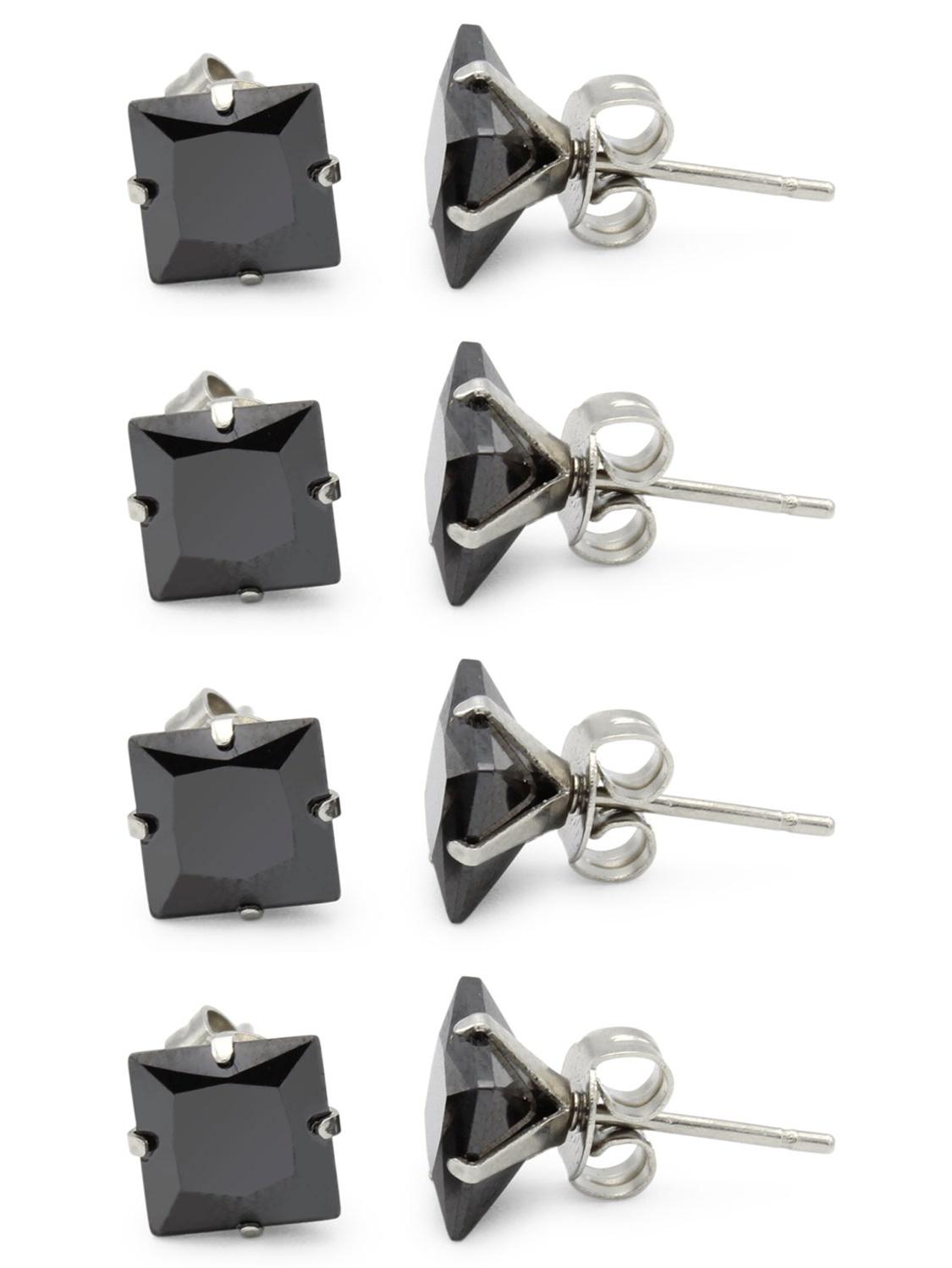BEBERLINI Stud Earring Set of 4 Cubic Zirconia Earrings Shinny Unisex Black Square Ear Jewelry Size 7